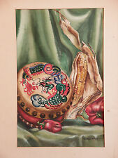 Still Life CHINESE DRAGON TAMBOURINE D Bowes - Vintage Watercolor Painting Asian