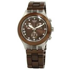 New Swatch Irony Chronograph Full Blooded Earth Brown Watch 43mm SVCK4042AG $160