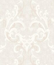 Feature Wall Marble Effect Damask - Muriva Juliette Cream Wallpaper 136502