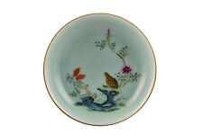 Chinese Qianlong Mark & Period Celadon Bodied Famille Rose Porcelain Quail Dish