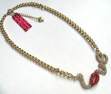 Betsey Johnson shiny crystal Love lip Charm Fashion Necklace#120L
