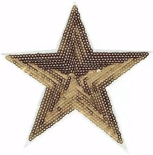 Iron On Embroidered Applique Patch - Large Sequin - Brown Celestial Star