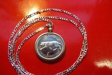 "Beautiful 1967 Canada Lynx Silver Coin Pendant on 30"" .925 Sterling Silver Chain"