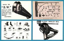 4 Tram Photos - Tramway Equipment: Trolley Heads, Springs, etc - From Period Ads