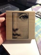 HAMPTON ART ATC Wood Mounted Rubber Stamp - 'FACE' - DISCONTINUED - Mixed Media