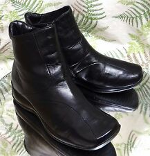 GEOX RESPIRA BLACK LEATHER ZIP DRESS ANKLE BOOTS FASHION SHOES US WOMENS SZ 5.5