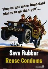 WW2 PROPAGANDA ARMY POSTER SAVE RUBBER REUSE CONDOMS JEEP NEW A4 PRINT