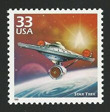 50th Anniversary STAR TREK Starship USS Enterprise Captain Kirk Mr. Spock Stamp!
