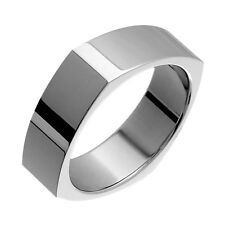Squared Style Titanium Rings Comfort Fit 7mm Wide Engagement Band for Him N Her