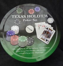COMPLETO TEXAS HOLD 'EM POKER SET Panno CARTE CHIPS le regole in latta