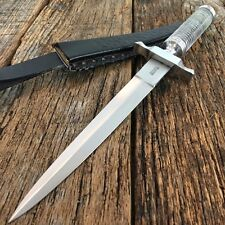 "12.5"" Stainless Steel Crystal Handle Hunting Knife With Leather Dagger"