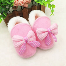 Newborn Baby Girls Winter Warm Soft Sole Boots Toddler Bowknot Prewalker Shoes D