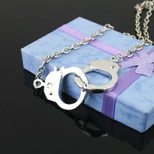 Shiny Silver Chunky Alloy intersect Chain handcuffs Pendant Necklace