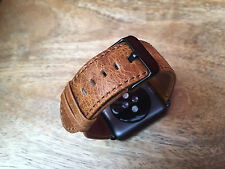 Quality Vintage Orange Leather Watch Strap Band for Apple Watch Iwatch 42mm UK6