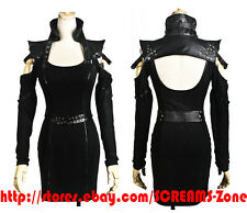 Goth Visual Kei Cutout Off Shoulder Open Back Stud Punk Steampunk Bolero Dress