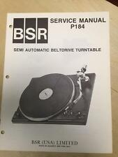 BSR Service & User Manual for the P184 Turntable Record Changer