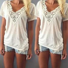 1PC Women Summer Vest Top Short Sleeve Blouse Casual Tank Tops T-Shirt Lace Y2
