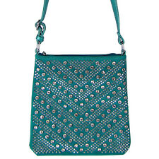 TURQUOISE STUDDED RHINESTONE BLING MESSENGER BAG SATCHEL CROSS BODY BRAND NEW