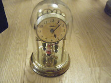 Vintage HALLER Table CLOCK, Glass Dome Figurines