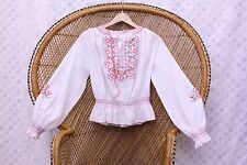 Vintage white embroidered floral 70s boho top penny lane Hungarian blouse S 8 10