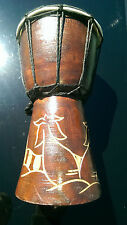 "9"" African Djembe Drum with Handcarved Design Excellent Craftsmanship"