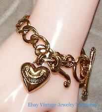 Juicy Couture Chunky Gold Tone Heart Charm Bracelet Estate