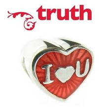 genuine TRUTH PK 925 silver & red enamel I LOVE YOU heart charm bead, wedding