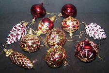 Pink & Gold Christmas Ornaments Pine Cone Ball Set of 11 Glittery