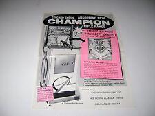 1962 Chicago Coin Champion Rifle Range Arcade Sales Brochure Flyer Original
