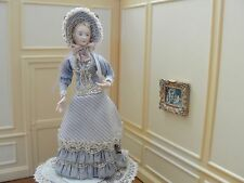 Doll House Miniature Porcelain Well-Costumed Lady Doll