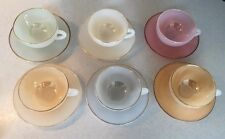 50s 60s Retro Vintage Kitsch Arcopal France Harlequin Colour Cups & Saucers Set