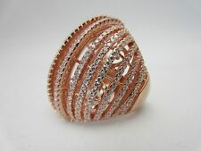 New Sterling silver cubic zirconia ring dome rose gold vermeil CZ