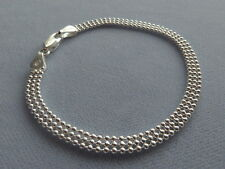"NEW- STERLING SILVER- 7""- 3 ROW BEAD BRACELET -POLISHED SHIMMERY- ITALY 925"