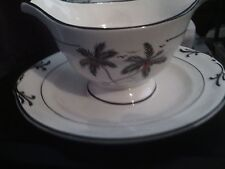 CROWN IVORY CHINA BLACK PALMS & RED COCONUTS GRAVY BOWL WITH ATTACHED UNDERPLATE