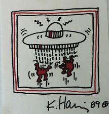 Keith Haring Drawing, Spaceships, signed, '89