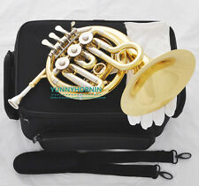 2017 Prof French Horn Piccolo Bb Key Handy Horn Gold NEW with Mouthpiece Case