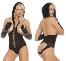 Lace Up Cupless Teddy w/ Hood Hooded Open Cut Out Back Bottomless Lingerie 8869