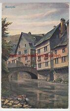 (105899) Künstler AK Montjoie, Monschau, Alte Häuser an der Rur, Brücke 1934