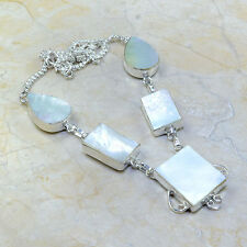 "Handmade Mother of Pearl Abalone Shell 925 Sterling Silver Necklace 18"" #C51834"