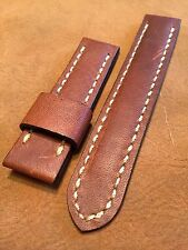 Handmade Distressed Leather Men watch strap 22mm Tan Brown Band w Steel buckle