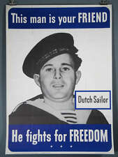 WWII Original Poster Dutch Allied Friend 28.5x40""