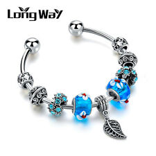 Vintage Silver Plated Blue Murano Lamp-work Rhinestone Beads Leaf Charm Bangle