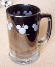 Disney Mickey Mouse gray ears logos glass handled cup mug tankard silvered top
