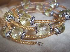 Hand Crafted Lt YELLOW Memory Wire Wrap Glass BEAD Bracelet Beach Gypsy D-94