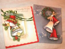 Vintage Christmas Greeting Card 1940s Lot 2 Bells Real Ribbon Ruth Jeaneret