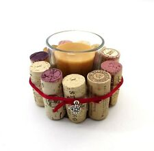 WINE CORKS VOTIVE CANDLE HOLDERS HANDMADE ~ CANDLE VANILLA SPICE SCENT ~ NEW