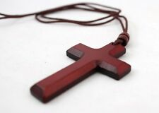 "Christian Wooden Wood Pectoral Cross Pendant with 35"" Rope Cord Necklace Gift  A"