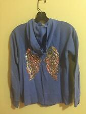 Victoria's Secret Angel Blue Wing Sequined Hoodie Full Zip Up XS $70