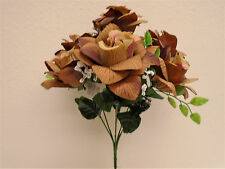 "2 Bushes Two Tones BROWN Open Rose 7 Artificial Silk Flower 15"" Bouquet 039BR2"