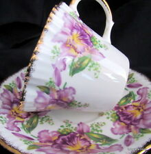 Salisbury English Bone China Tea Cup and Saucer Set Garland Purple Iris Gilt